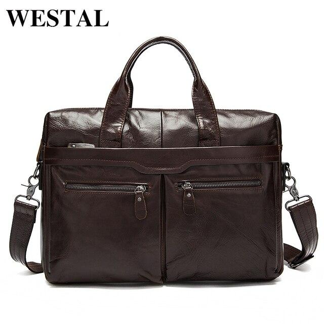 WESTAL sac à bandoulière en cuir véritable pour hommes, sac à épaule/fourre tout sacs pour ordinateur portable