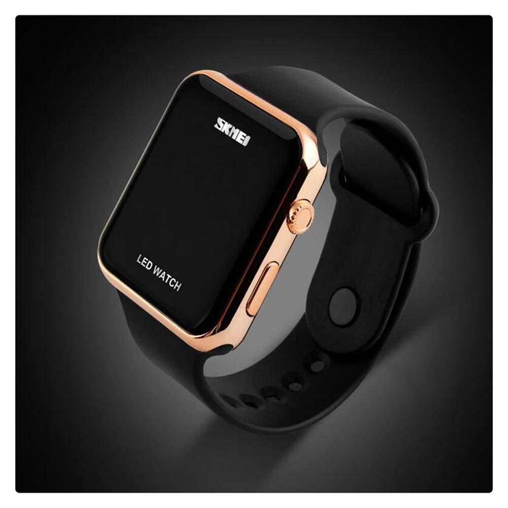 LinTimes Unisex Female Male Wristwatches Simple Disign LED Digital Watch For Men Women Rose Gold