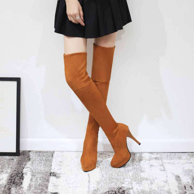 Große Größe 11 12 13 Metall dekorative hülse knie-kreuzung mode stiefel mit runde kopf und hohe ferse wasserdicht plattform