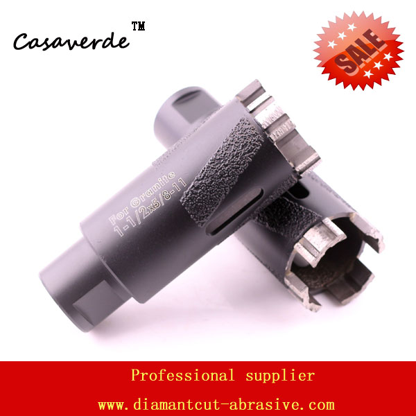 Hole saw 1-1/2'' D38mm dry diamond drill bits for drilling stone with Vacuum Brazed Inside and Outside protection