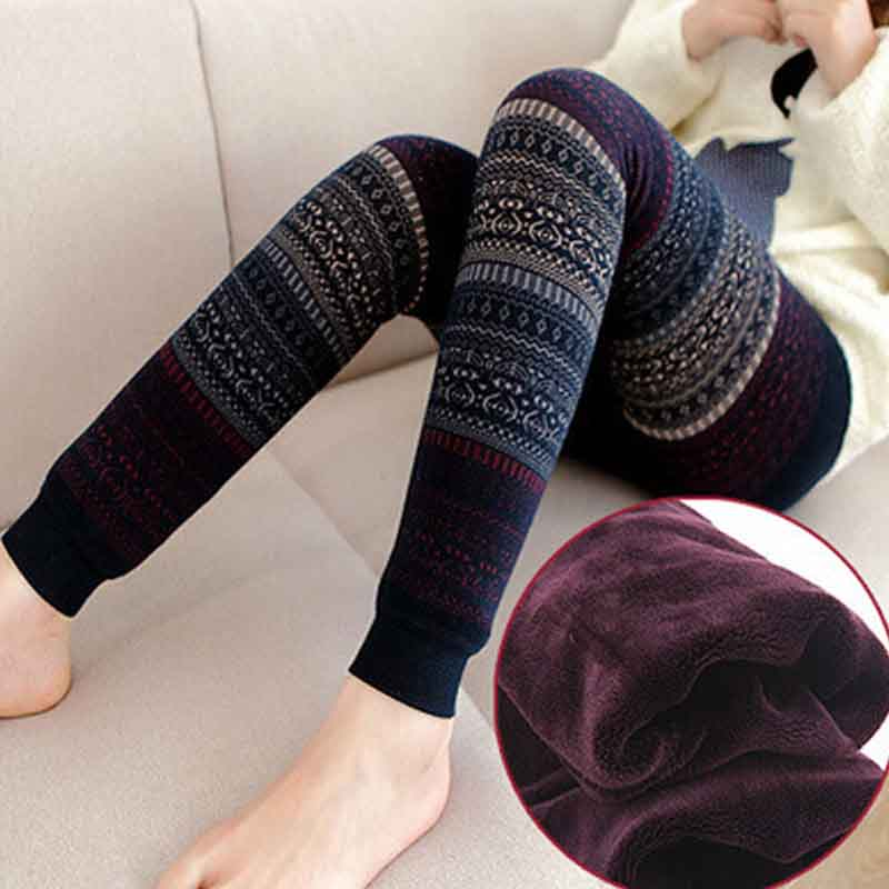 NORMOV Fashion Totem Winter Leggings Womens High Waist Printing Plus Velvet Thickening To Keep Warm Slim 5 Colors Leggings