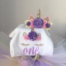 Fancy Baby Girl 1 Year Birthday Dress Unicorn Party Outfits Summer Flower Kids Dresses For Girl Clothing Tutu Rainbow Cake Dress