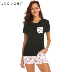 Image 2 - Ekouaer Pajama Set Women Short Sleeve Top Print Shorts Pajamas Set Soft Sleepwear Female Pyjama Set Summer Home Wear 3 Colors