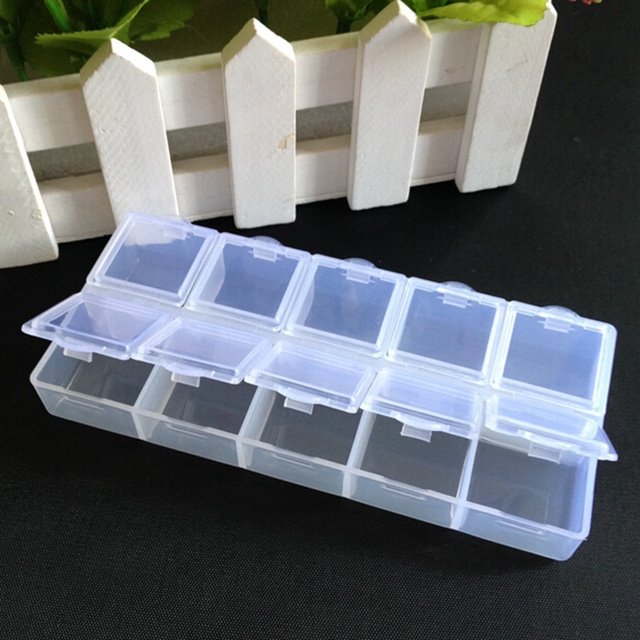 Organizador 3pcs Transparent Plastic Rectangle 10 Compartment Storage Box  Earring Ring Jewelry Bin Bead Case Container A829