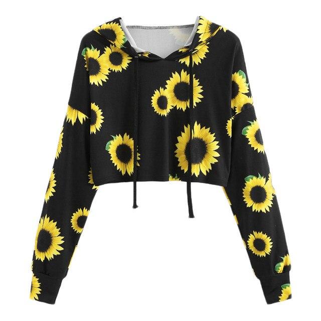 Womens Autumn Crop Top Hoodies Long Sleeve Sunflower Printing Hooded Sweatshirt Tops Casual Hoodies Women Sweatshirts NEW