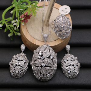 Image 3 - Lanyika Jewelry Set Super Luxury Big Flower Ball Micro Plated Necklace with Earrings and Ring for Engagement Trendy Gift