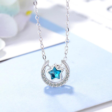 Pentagram Blue Moon Pendant Necklaces Five-Pointed Star Necklace pendant Symbol Jewelry dome necklace