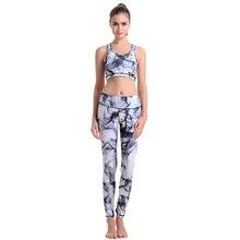 Women Yoga Sets Bra+Pants Fitness Print Clothing Women's Gym Sports Running Girls Slim Leggings+Tops Sport Suit For Female