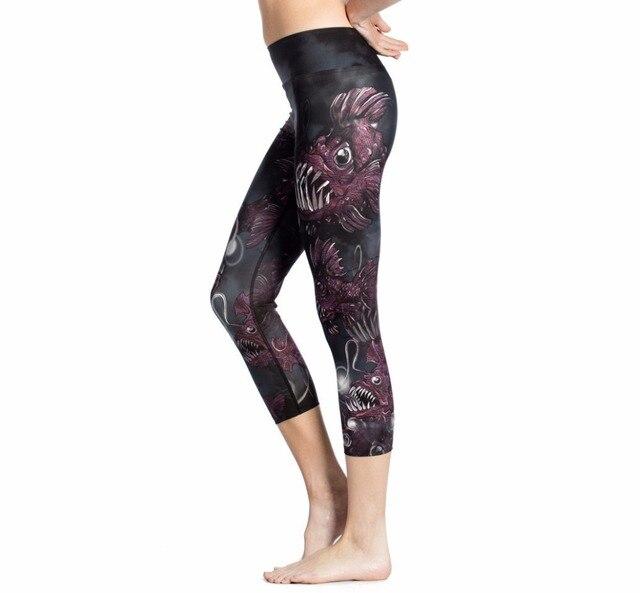 a2ba1b00ef39c1 HYCOOL 2017 Fancy Cartoon Fish Printed Sport Capris Women Yoga Pants Fitness  Hips Push Up Leggings Jogging Running Tights Sexy