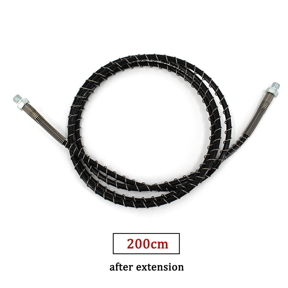 200cm Long M10x1 Male Thread High Pressure Hose With Spring Wrapped PCP Airforce Pneumatics Air Refilling Pump Nylon Black Hose