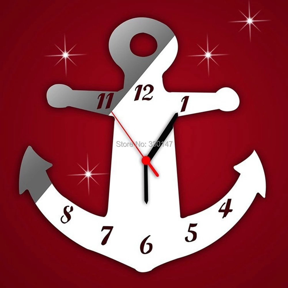 1 pcs boat anchor reflective watch wall self adhesive stick clock 1 pcs boat anchor reflective watch wall self adhesive stick clock acrylic mirror walls 3d home decorative art mural 3030cm in wall clocks from home amipublicfo Images