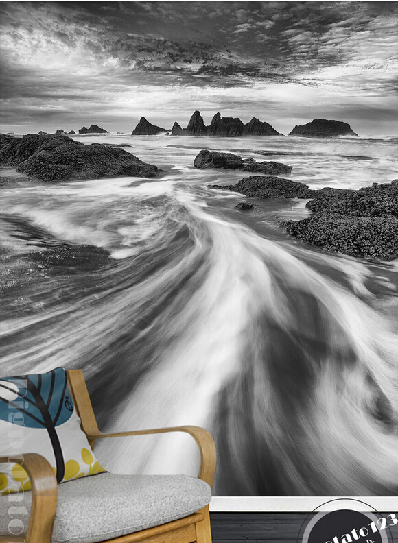 Custom 3D large mural,modern simplicity black and white Art Rock River water scenery,living room TV wall bedroom wallpaper. 3d abstract art backdrop modern black and white mural new large mural 3d wallpaper bedroom living room tv backdrop painting