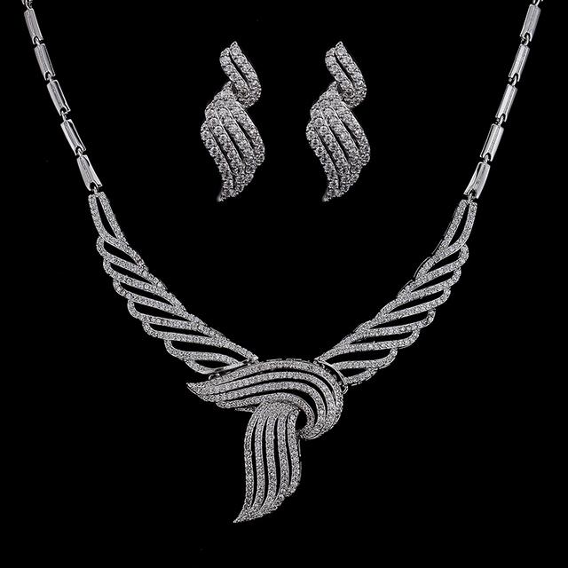 Metal de cobre Exquisite Limpar Bow Knot Mirco Zircônia Cúbica Conjuntos de Jóias Para As Mulheres