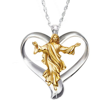 Heart Jesus Necklaces Gold and Silver Two-tone Clear Round Zirconia Alloy Pendant Necklace Woman Wedding Enagement Jewelry Gifts two tone heart
