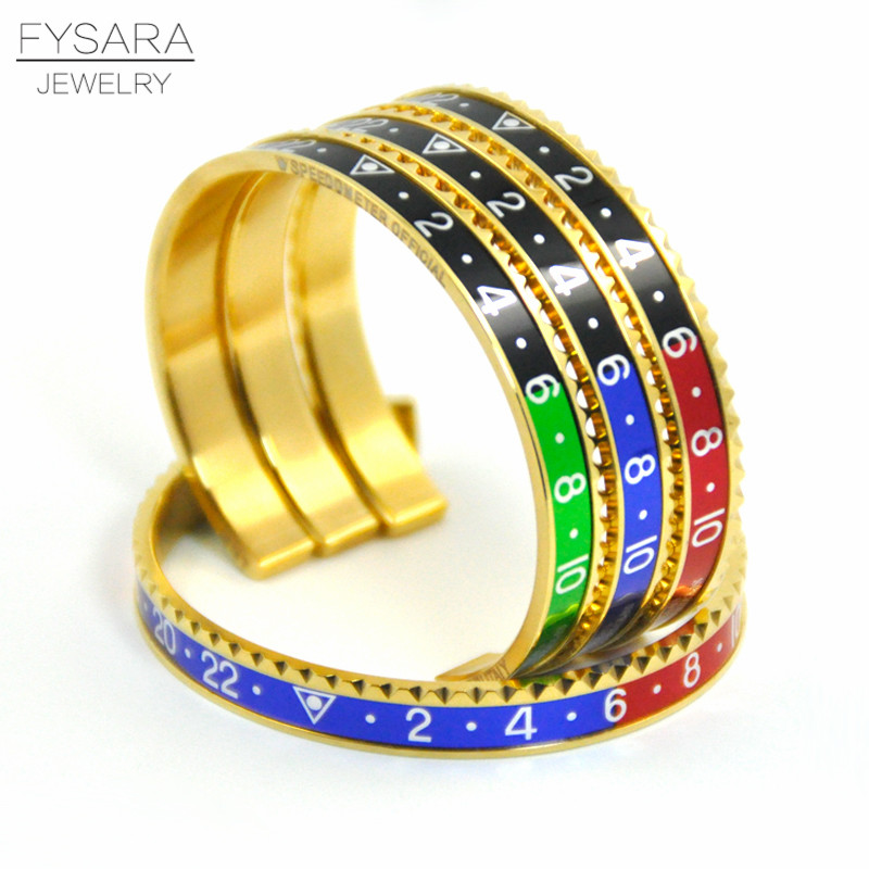 Fashion Jewelry Italian Stainless Steel Cuff Bracelets & Bangles Speedometer Official Bracelets For Men Punk Jewelry 12 Color