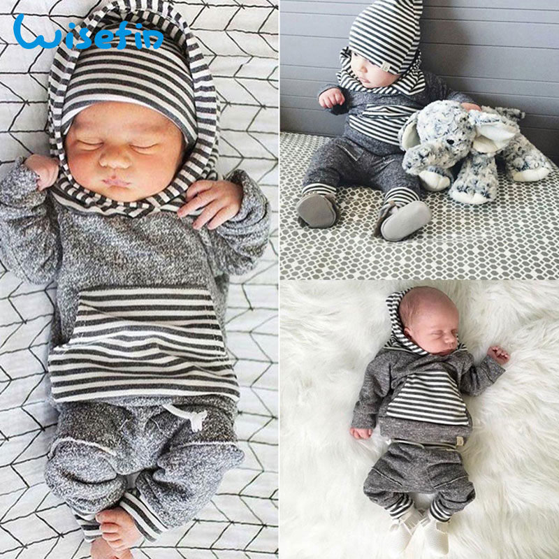 Wisefin Hooded Newborn Clothing Boy Striped Gray Long Sleeve Infant Outfits Set 2 Piece Fashion Winter Toddler Baby Boy Clothes fashion newborn outfits baby boy clothes boys set 3pcs hats arrow striped t shirts long pants infant suits boys clothing
