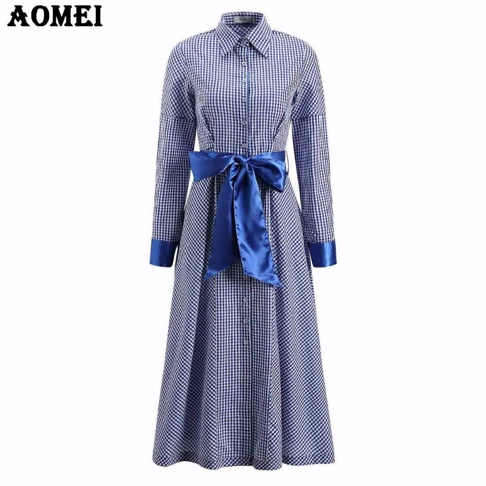 blau plaid langarm-shirt kleid büro damen elegante winter gingham retro  falte mit schärpen midi kleider femme roben tuniken