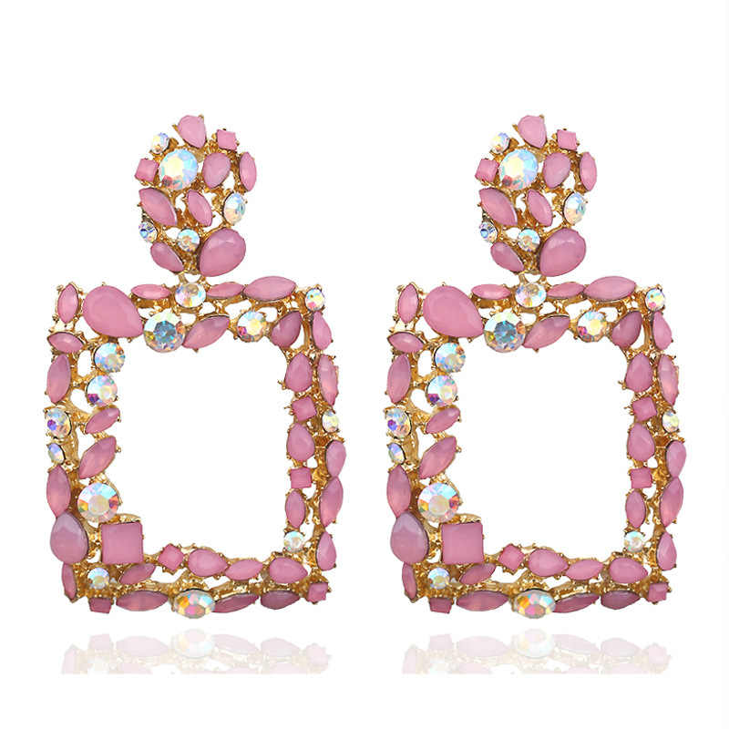 QTWINDY Earrings 2019 Pink Statement Geometric Rhinestone Big Crystal Earrings For Women  Fashion Earing Luxury Party Evening