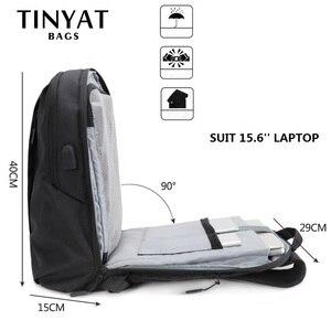 Image 4 - TINYAT męski plecak na laptopa USB na 15.6 calowy plecak męski torba 90c otwarty biznes plecak na ramię męski plecak podróżny Mochila