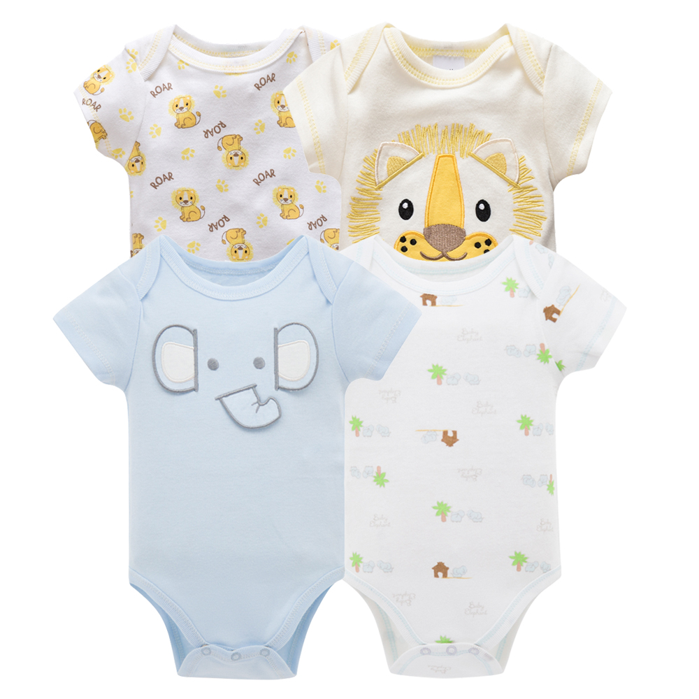 Kavkas/одежда для сна для маленьких мальчиков, комплект из 4 шт./компл., одежда с короткими рукавами для новорожденных, пижамы для мальчиков, Infantile, одежда для сна для маленьких мальчиков - Цвет: HY20782170