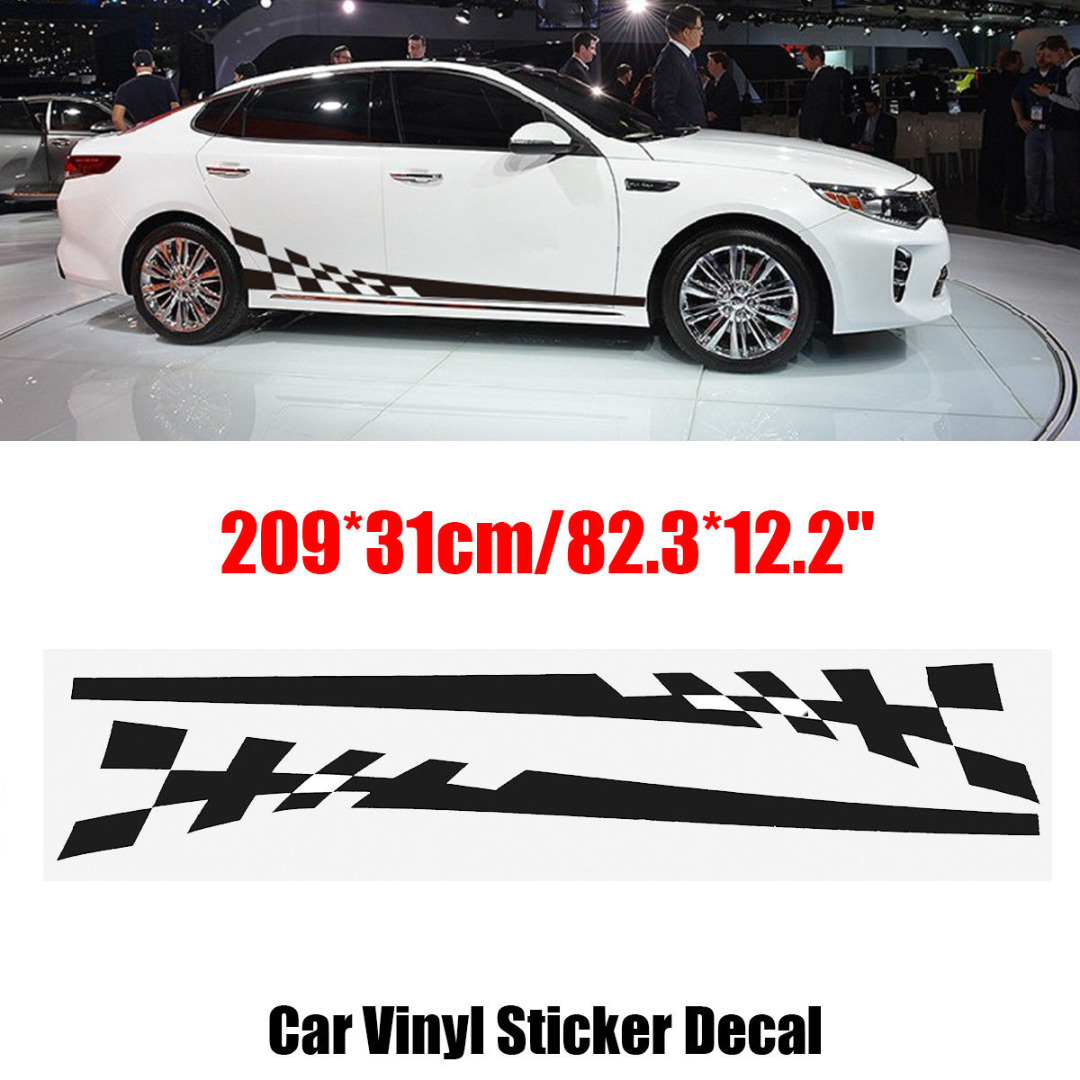Detail feedback questions about car decoration stickers 2pcs car side body vinyl decal washable design racing sports long stripe grid flag sticker mayitr on