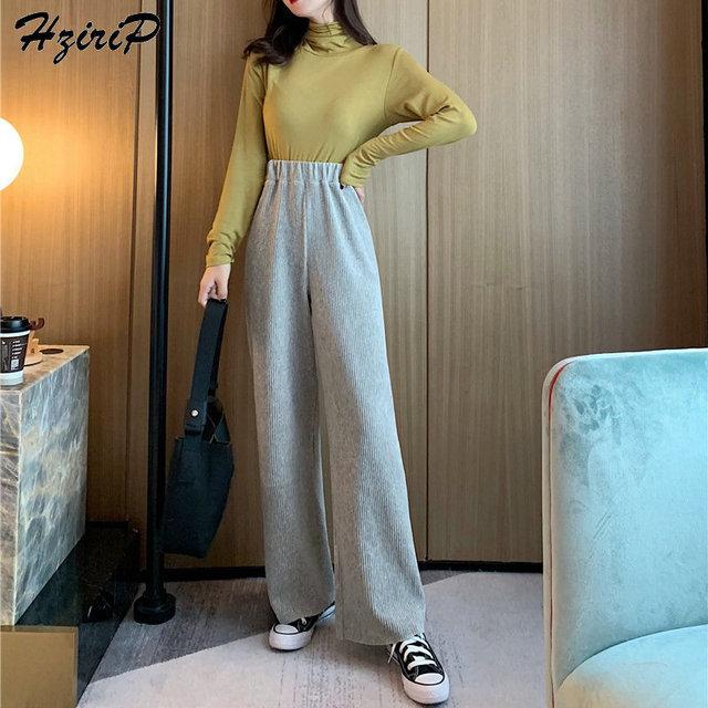 HziriP Casual Wide Leg High Quality Flat Straight Solid Korean Pants Fresh Trousers Pants Elastic 2019 Fashion Loose High Waist