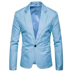 Image 2 - Erkek bir düğme çentikli yaka yeşil Blazer erkekler marka Slim Fit günlük giysi ceket Blazers erkek iş ofis kostüm Homme 2XL