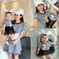 Baby Clothes Rompers For Baby 2017 Summer New Baby Suits Striped T Shirt Dress Matching Mother