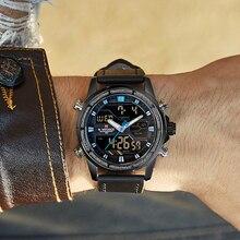 0485b8138d8 NAVIFORCE Marca Top Men Esporte Militar Relógios LED Digital Quartz Relógio  de Pulso de Couro À Prova D  Água Moda Relógio Relog.