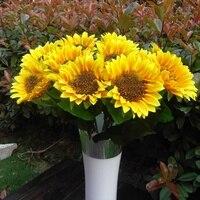 10 Punhado de Girassol Flor Artificial Falsos Plantas Para Festa de Casamento Buquê De Flores de Seda Decoração de Casa