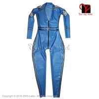 Сексуальные военные латекс тела костюм передняя молния с клапаном карман Ремни резиновая комбинезон боди Зентаи LT 074