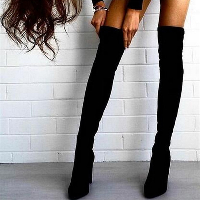 2017 New Superstar High Heeles Shoes Sexy Suede Thigh High Boots Women Over The Knee Boots Ladies Winter Shoes Female Botas 41 women boots winter autumn cow suede thigh high boots sexy over the knee high heels shoes fshion botas senhora bottes d hiver