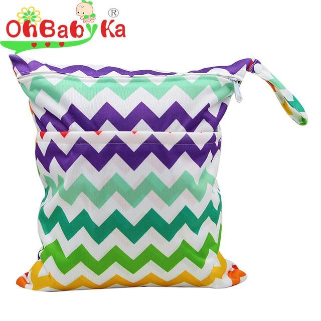 OhBabyKa Bebê Sacos de Fraldas Impresso Com Zíper Duplo Molhado/Seco Saco Impermeável Molhado Pano WetBag Diaper Backpack Capa de Fralda Reutilizável