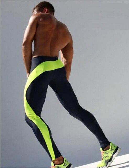 Новые Мужские Бегунов Сращены Узкие Лодыжки Штаны Спандекс Колготки Спортивные Леггинсы Фитнес Мужчины Тощие Бегунов Спортивные Зеленый