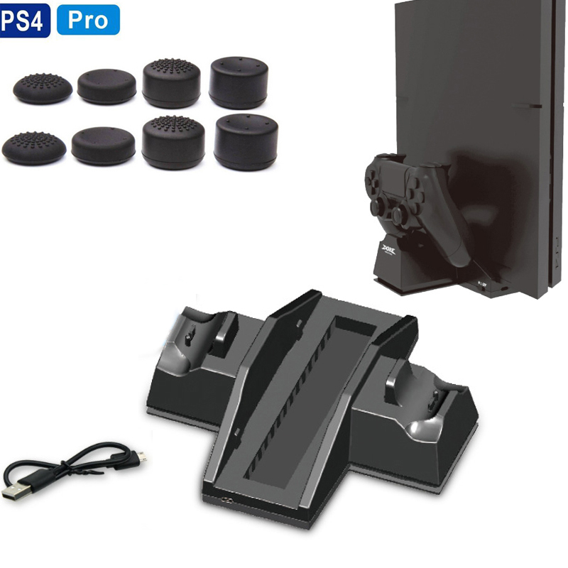 Vertical Stand w/ Cooling Fan Cooler 2 Controller Charger Charging Station for Playstation 4 PS4 PRO Console&Wireless Controller