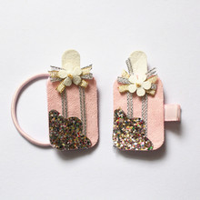 Girls Novelty Ice Cream Shape Headwear Cute Kids Glitter Hair Clips 2pcs Children Lovely Catoon Barrettes Prince Hairbands