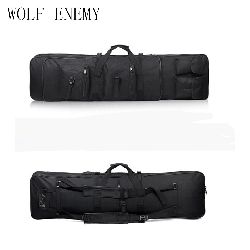 47 Inch 120 Cm 1.2m SWAT Dual Tactical Heavy Duty Multi-purpose Messenger Large Capacity Bag Carrying Case for Rifle Gun Black tactical 1m heavy duty gun carrying bag with shoulder strap 600d waterproof paded rifle gun case bag for carbine shotgun bag