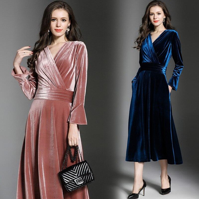 Manches Bleu Robe rose Longues Cou 2018 Haute Rétro À Femmes Robes V Automne  Vintage Parti ... f2477e303cc