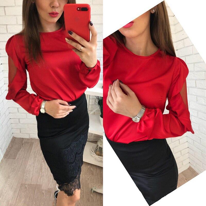 Lantern Ruffles Mesh Patchwork Long Sleeve Shirts 2018 Women Fashion Solid Chiffon Tops O-Neck Sexy Casual Hot Sale Blouses