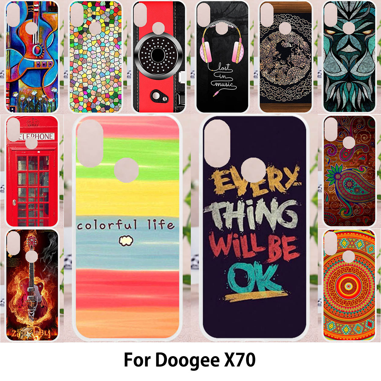 TAOYUNXI Cases For Doogee X70 Back Covers 5.5 inch Soft Silicone Painting Bags Soft TPU Patterned Skins Shell Housings