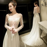 Backlackgirl Elegant Evening Dress 2018 Self cultivation Fish Tail Banquet Dresses Sexy One Shoulder Of The Tail Long Fund Dress