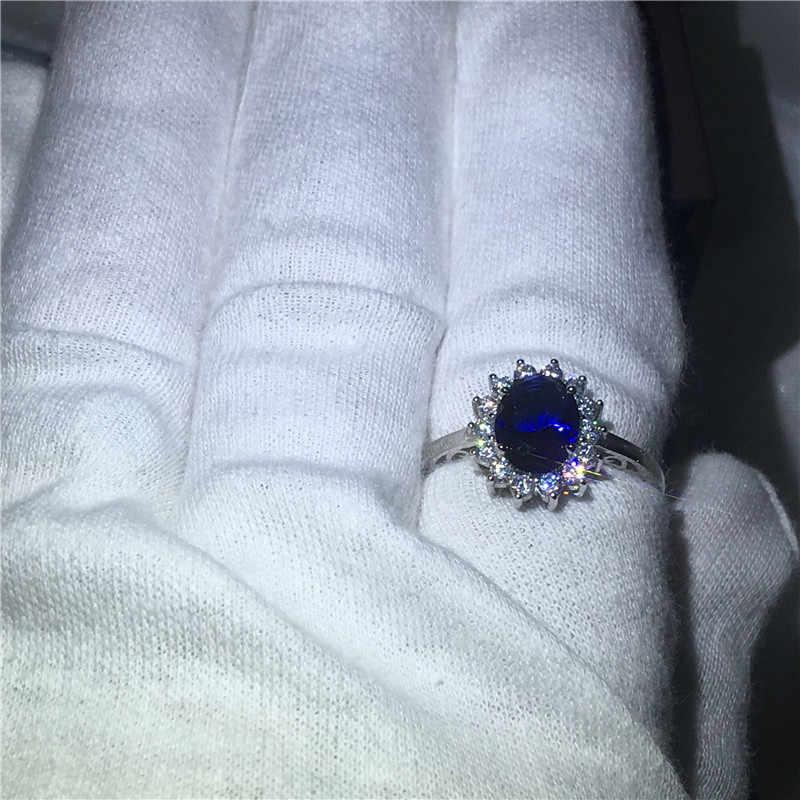 Hoàng gia Đồ Trang Sức Công Chúa Diana 100% Bất 925 Sterling Silver ring Màu Xanh 5A Zircon Cz Engagement wedding nhạc nhẫn đối với phụ nữ cô dâu