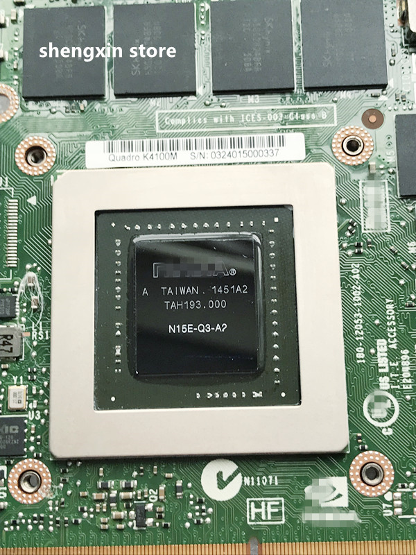 Dell Precision M6700 M6800 nVIDIA Quadro K4100M 4GB Video Graphics Card WG3YY