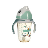 Baby milk bottle Dolphin cartoon Wide mouth PPSU bottle Baby handle Silicone nipple bottle Baby Trainer Cup
