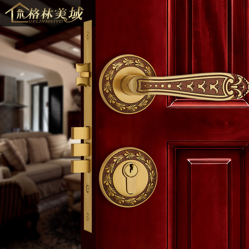European - style copper door lock split lock full copper room door lock interior bedroom solid wood door lock ceramic lock the door when indoor european ball lock hold hand lock copper core ss