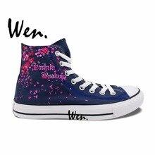 Wen Anime Hand Painted Shoes Design Custom Bleach Byakuya Kuchiki Christmas Gifts High Top Men Women's Canvas Sneakers