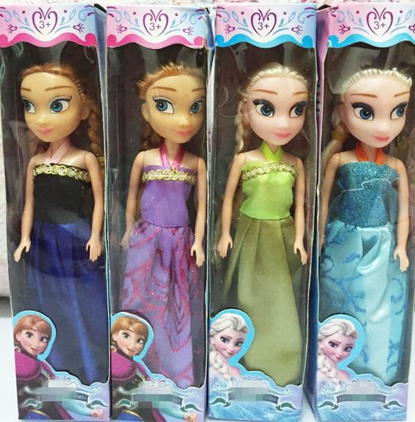 Trend  1pcs 2016 Baby Dolls Snow Queen Princess Anna Elsa Dolls Mini Elsa Doll Kids Toys carttoon dolls ch