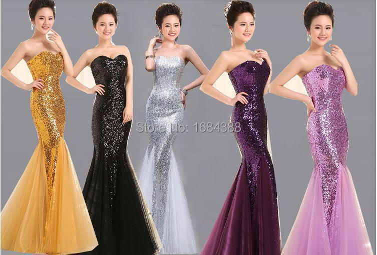 2015 Mermaid Evening Dresses Sweetheart Sequined Fully