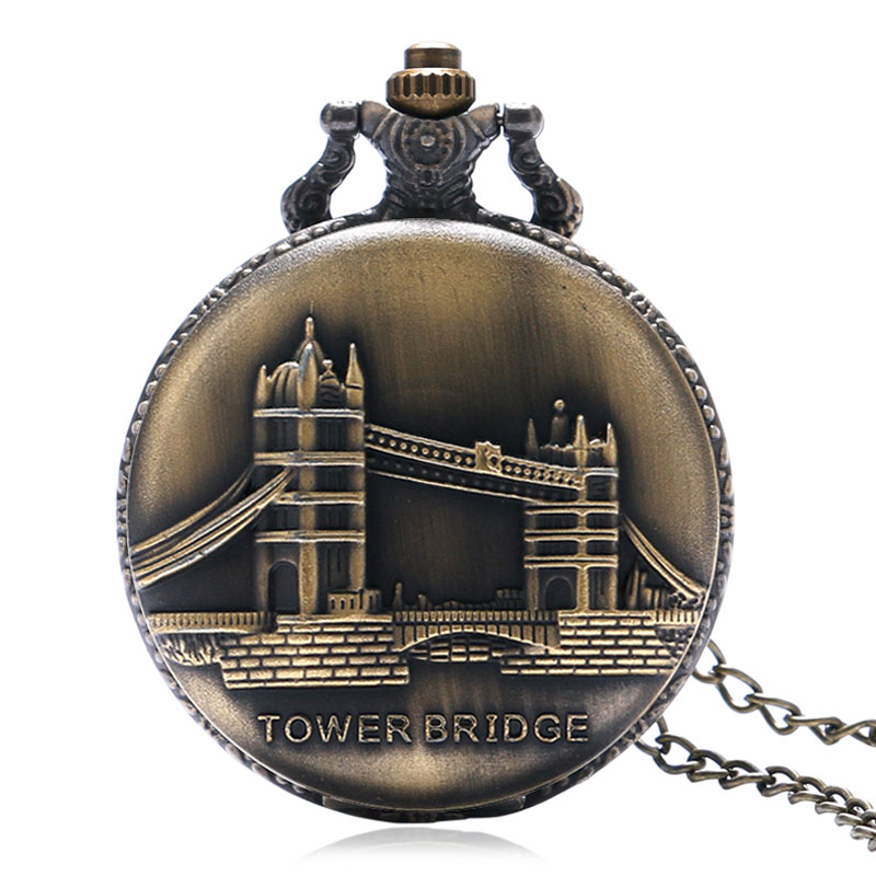 Vintage Bronze Tower Bridge Design Quartz Pocket Watch Women Men Fob Watches Neklace Pendant Gift 2020 New Arrival Fashion Clock