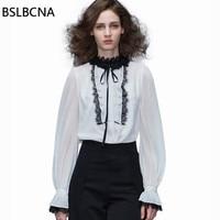 2018 лето осень Blusa Feminina Офисные женские туфли модная одежда белая шифоновая рубашка женский с длинным рукавом Женские топы и блузка A289